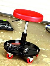 Roller Stool Rolling Seat Adjustable with Tool Supply Tray Office Shop Stool RED
