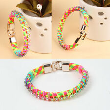 Leather Wrap Wristband Multi-Colour Cuff Punk Crystal Buckle Bracelet Bangle