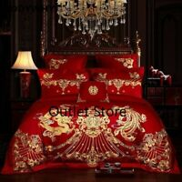 Luxury Cotton Phoenix Loong Embroidery Chinese Wedding Bedding Set Duvet Sheet