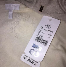 NWT $325 ESCADA XL CREAM KNIT & SILVER METALLIC SWEATER CARDIGAN SHEER DELICATE