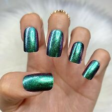 Mermaid Metallic Glitter Short Press On Nails Fake False Glue 24 Pc Nail Set