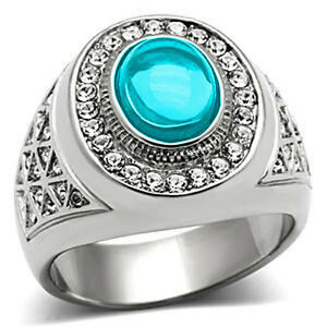 10x8 mm 316 Stainless Steel March Aqua Marine Stone Dome Cut Men's Ring Size 7
