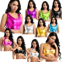 Shiny Metallic Womens Sexy Crop Top Bra Vest Party Dancewear Tank Top Vest Disco