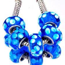 5Pcs Gold Silver Filled Blue Murano Glass Bead Loose European DIY Bracelet