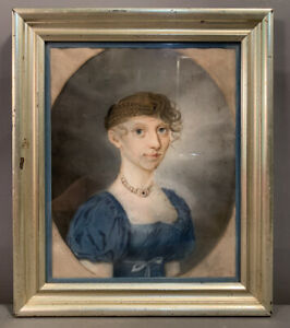 19thC Antique REGENCY Era LADY Old PRIMITIVE Folk Art PASTEL PORTRAIT PAINTING