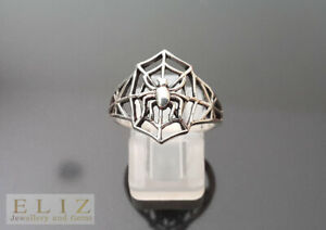 STERLING SILVER 925 Spider Web Black Widow Ring
