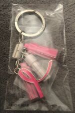 Clinique Pink Ribbon Breast Cancer Awareness Keychain Ring Key Chain NEW tassel!