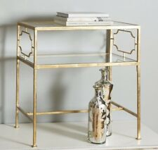 Hollywood Regency Bohemian Gold Iron Glass GENELL End Side Accent Table Horchow