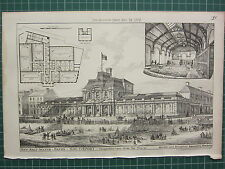 1877 DATED ARCHITECTURAL PRINT ~ NEW SALT WATER BATHS SOUTHPORT ~ BRIDGFORD