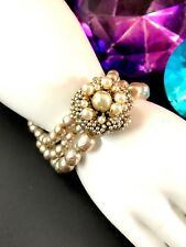 GORGEOUS VINTAGE 1950'S SIGNED MIRIAM HASKELL 3 STRAND FAUX PEARL BRACELET