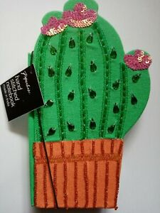 CACTUS Shaped NOTEBOOK hand stitched with embellishments sequins beads