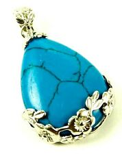 """LARGE TURQUOISE HOWLITE  FLORAL FRAMED DROP PENDANT & 20"""" CHAIN - HEALING/REIKI"""
