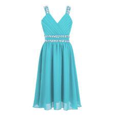 Kid Flower Girl Pageant Dress Birthday Wedding Jr. Bridesmaid Gown Formal Dress