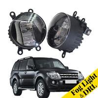 LED Daytime Running Lights Aluminum Cover Fog Lamp Fit For Mitsubishi Pajero IV