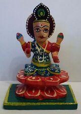 BEAU peint à la main bois déesse Lakshmi DIEU HINDOU Statue 7.6cm