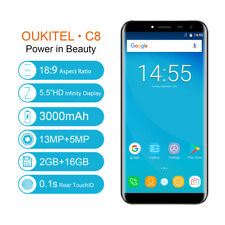 OUKITEL C8 Smartphone 16GB 13MP 5.5in HD Android 7.0 Quad Core Dual SIM 3G Handy
