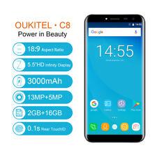 "OUKITEL C8 Smartphone 16GB 13MP 5.5"" HD Android 7.0 Quad Core Dual SIM 3G Handy"