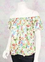 Hippie Laundry Medium M White Rayon Floral Off The Shoulder Boho Festival Top