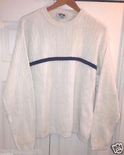 VTG Sweater Men's Large Crewneck Pullover WHITE Blue Striped Cotton Blend Mens L