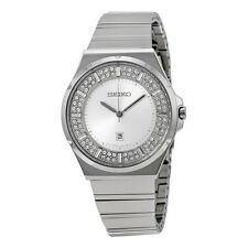 SEIKO SXDF71 WOMEN'S DRESS CRYSTALS ON SILVER-TONE DIAL DATE SILVER-TONE WATCH
