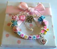 Personalised girls ANY NAME big sister daughter niece choose charm bracelet gift