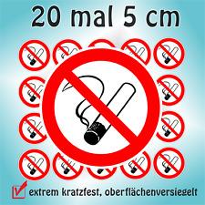 20 Aufkleber D=5cm inkl. Schutzlaminat Rauchen verboten Verbotszeichen