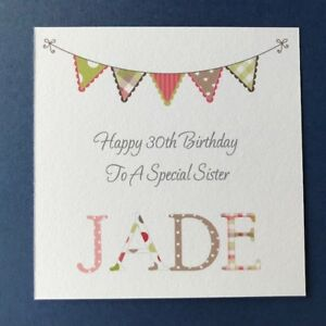 Personalised Female Birthday Card - Sister Friend Daughter -21st 30th 40th 50th