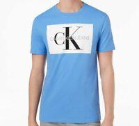 $114 Calvin Klein Men's Blue Crew-Neck Short-Sleeve Graphic T-Shirt M *DAMAGED*