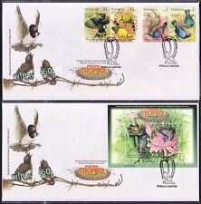 2002 Malaysia Tropical Birds Singapore Joint Issue 4v Stamps + MS on 2 FDC (KL)