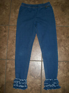 Matilda Jane Jeans Size 8  Blue Denim Ruffle Pull On Girls