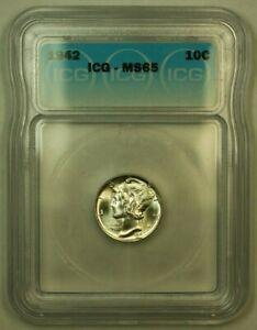1942 Silver Mercury Dime 10c Coin ICG MS-65 B
