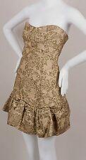 Dolce & Gabbana Gold Metallic Brocade Flounce Hem Strapless Mini Dress Sz:40