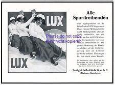 Waschmittel Lux Reklame 1913 rodeln Schlitten Drei in Viererbob Damen Berge +