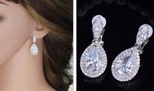 Sparkling, Cubic Zirconia, Teardrop, Dangly Clip On Earrings  (NB011)