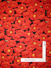 Red Poppy Flowers Poppies Cotton Fabric Wilmington Poppy Celebration - Yard