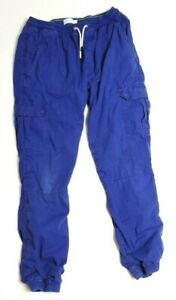 Mini Boden Youth 14 Pants Cargo Blue Drawstring Waist Lined Fleece School