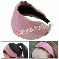 Ladies Pink Franela Coated banda para el cabello diadema Hoop