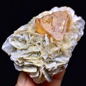 93g Rare Complete Orange Octahedral Scheelite & Mica Plate & Aquamarine Specimen
