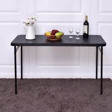 """48"""" x 20"""" Black Foldable Rectangle Serving Portable Table Outdoor Party Dining"""