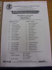 11/10/2005 Middlesbrough Reserves v Leeds United Reserves  (Single Sheet).  Than