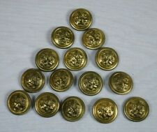 15 Antique Bulgarian Army Military Parade Uniform Metal Buttons Lion Gold Plated