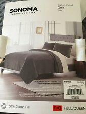 Kohl's Sonoma Queen/Full 100% Cotton Dark Gray Velvet Quilt w/ 2 Shams NEW