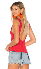 Free People FLIPSIDE Cami Tank Top Lace Sleeveless BRIGHT RED OB580637 NWT