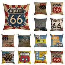 Mother Road Route 66 Pillow Case Linen Cotton Home Textile Waist Cushion Cover