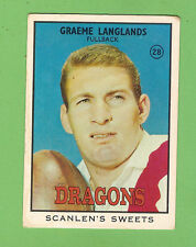 #D365.1968 Series 2 SCANLENS RUGBY LEAGUE CARD #28 GRAEME LANGLANDS, ST GEORGE