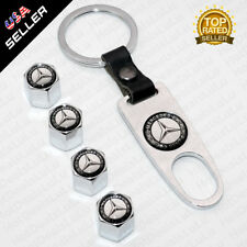 Chrome Car Wheel Tire Valve Dust Stems Air Caps + Keychain With Mercedes Emblem