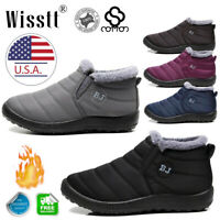 Womens Winter Warm Fur-lined Ankle Snow Boots Slip On Waterproof Warm Shoes Size