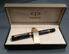 PARKER DUOFOLD CENTENNIAL BLUE MARBLE 18k GOLD MEDIUM ITALIC NIB Date IF