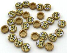 Lego Pearl Gold Tiles Round 1 x 1 with Ninjago Trapped Sensei Wu Pattern Ninja