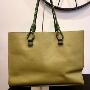 LEVENGER GREEN LEATHER TOTE BAG